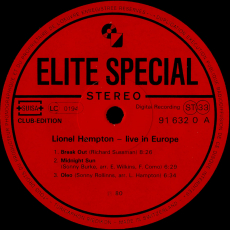 Lionel Hampton - Live In Europe (LP, Album, Club) (gebraucht VG+)