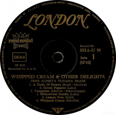 Herb Alperts Tijuana Brass - Whipped Cream & Other Delights (LP, Album) (gebraucht G-)