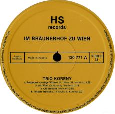 Trio Koreny - Im Bräunerhof zu Wien - Konzertcafe (LP, Album) (gebraucht VG)